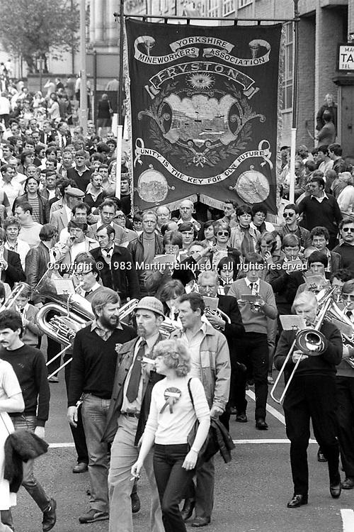 Fryston banner, 1983 Yorkshire Miner's Gala. Barnsley
