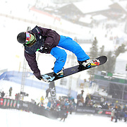 12/20/08 1:01:43 PM -- Breckenridge, CO, U.S.A. -- Snowboarder Ross Baker of Reno, Nev. competes at the inaugural Winter Dew Tour in Breckenridge, Co. on December 20, 2008. The four-day competition is the first of three stops on the tour that features freeskiing and snowboarding..(Photo by Marc Piscotty / © 2008)