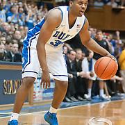 Duke guard Tyler Thorton looks for an opening. Duke beats UNC 79-73 at Cameron Indoor Stadium Durham NC