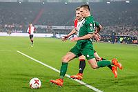 ROTTERDAM - Feyenoord - FC Groningen , Voetbal , Eredivisie , Seizoen 2016/2017 , Feijenoord stadion de Kuip , 11-02-2017 ,  FC Groningen speler Yoell van Nieff (r) in duel met Feyenoord speler Jan Arie van der Heijden (l)