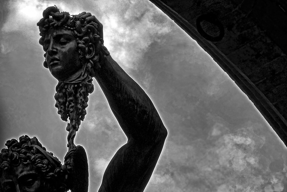 """A monochrome close-up of Benvenuto Cellini's masterpiece, """"Perseus with the Head of Medusa"""" in Florence Italy."""