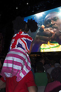 Hyde park, central London. Usain Bolt celebrates after winning the 100m