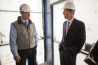 NEW YORK, NY &ndash; NOVEMBER 8, 2013:  CEO of Marriott Hotels, Arne Sorenson, right, at the at the Metropolitan Life Insurance Company Tower on Madison Square Park in Manhattan where a new brand of Marriott Hotels, Edition Hotel New York, is being installed and set to open in 2015. <br /> <br /> Photo &copy; Robert Caplin