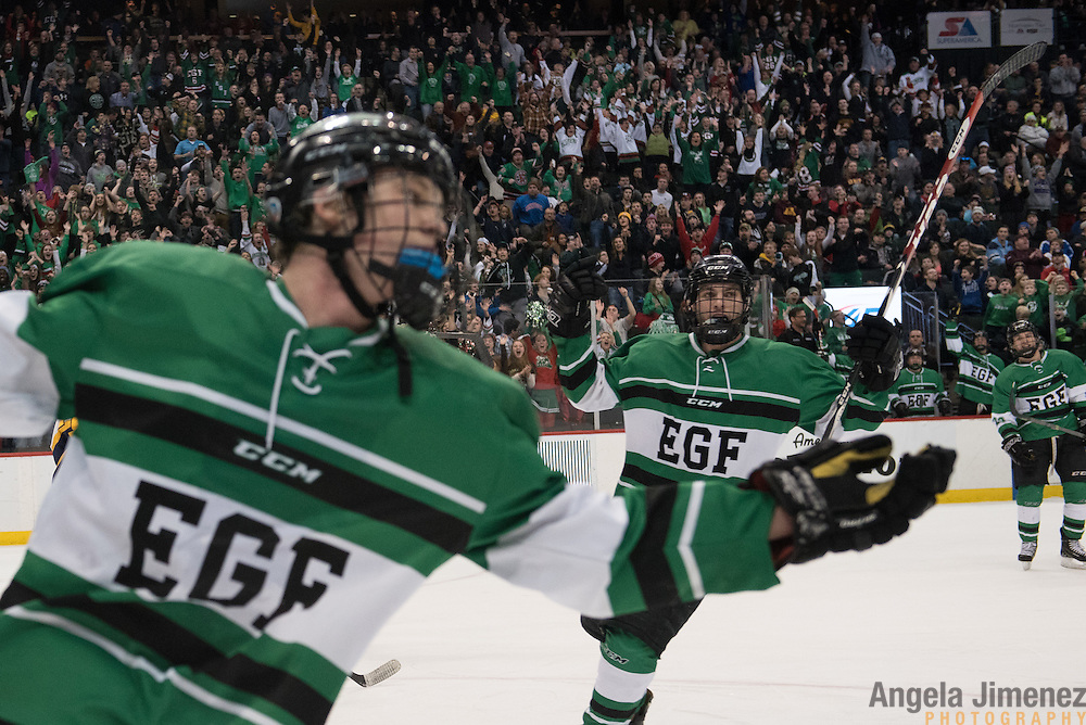 East Grand Forks' Grant Loven, foreground, and his teammates, celebrate his hat trick after he scores his third of three goals in the second period during the Class A semifinal game between Mahtomedi and East Grand Forks (East Grand Forks won 5-2) at the Minnesota State High School League Boys' State Hockey Tournament at the Xcel Energy Center in St. Paul, Minnesota on March 6, 2015. <br /> <br /> <br />  <br /> <br /> Photo by Angela Jimenez for Minnesota Public Radio www.angelajimenezphotography.com
