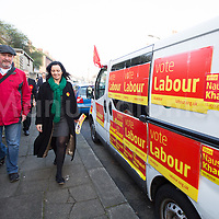 @Licensed to London News Pictures 20/11/2014. Strood, Kent, UK.Rt Hon Caroline Flint Labour MP for Don Valley with party members out canvassing for votes on election day for the Labour candidate Naushabah Khan in the  Rochester and Strood by-election in Kent today. Photo credit: Manu Palomeque/LNP