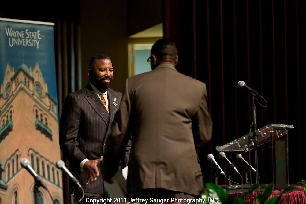DETROIT, MI - NOVEMBER, 16: Robert C. Bobb, Emergency Financial Manager of the 87,000-student Detroit Public Schools, speaks at Wayne State University in Detroit, MI, Tuesday, November 16, 2010. (Photo by Jeffrey Sauger)