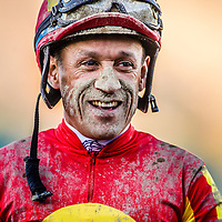 David Flores after winning the Malibu Stakes at Santa Anita Park on Opening Day, December 26th, 2014 in Arcadia CA. (Alex Evers/ Eclipse Sportswire)