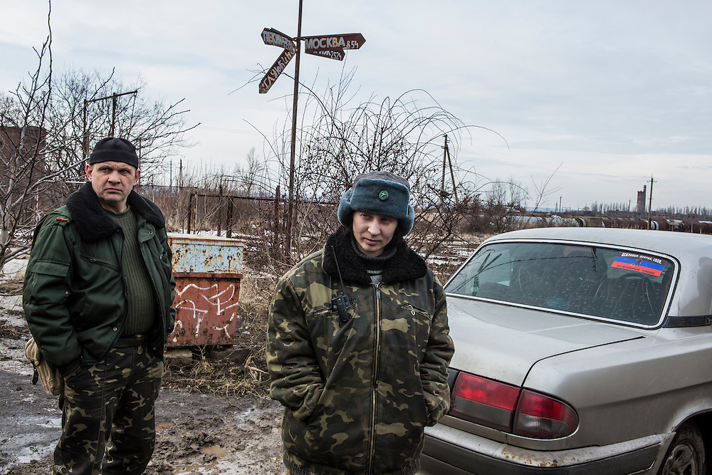 GORLOVKA, UKRAINE - JANUARY 31, 2015: Ira, center, and another rebel fighter near front-line positions in Gorlovka, Ukraine. Fighting in Ukraine has intensified over the last week, with rebels declaring the end of a September ceasefire. CREDIT: Brendan Hoffman for The New York Times