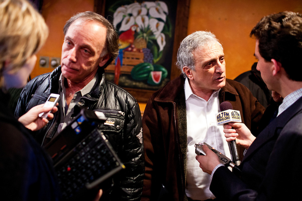 Former Republican gubernatorial candidate Carl Paladino, second from right, is interviewed by a radio station after a town hall meeting with Republican presidential candidate Newt Gingrich at Don Quijote restaurant on Sunday, January 8, 2012 in Manchester, NH. Brendan Hoffman for the New York Times