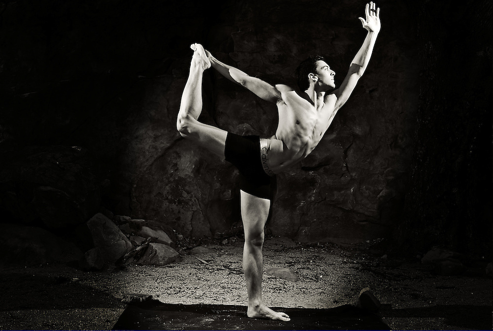 Brandon estrada showing off his body in lord of the dance pose