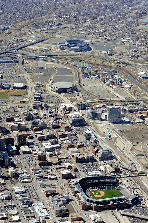 Aerial of Coors Field baseball stadium, Denver, Colorado