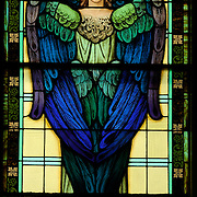 The angel Seraphim is depicted in a stained glass window at Our Lady of the Lake Church in Ashland.