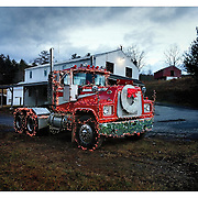 A semi-truck (tractor) is decorated with holiday lights December 25, 2014, in Elton, VA.<br /> <br /> Photo by Khue Bui