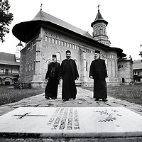 Neamt County, Romania, July 2007<br /> Orthodox monks walk in the Neamt Monastery.<br /> Photo: Ezequiel Scagnetti