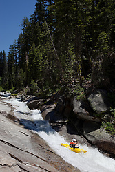 """Kayaker on Silver Creek 6"" - This kayaker was photographed on Silver Creek - South Fork, near Icehouse Reservoir, CA."