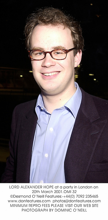 LORD ALEXANDER HOPE at a party in London on 20th March 2001.OMI 32