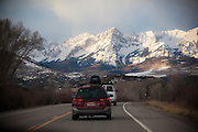 Driving towards the Sneffels Range in the San Juan Mountains, Colorado.