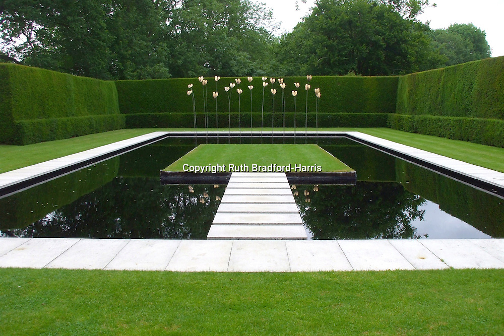A minimalist pool garden with 39 floating 39 raft and steps for Garden pool chemicals