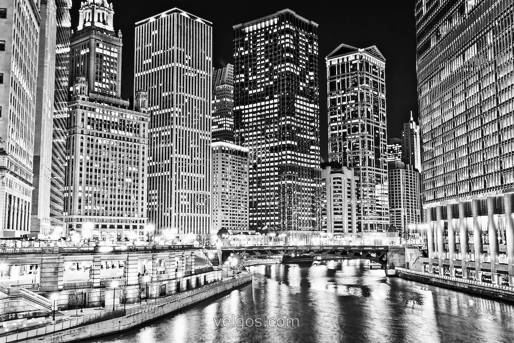 Chicago River Skyline At Night Black And White Picture Buy Canvas