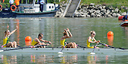 Ottensheim, AUSTRIA.  A  Final,  AUS. LW4X,   Bow, Ingrid FENGER, Bronwyn WATSON, Miranda BENNETT and Alice McNAMARA,  Gold Medallist, at the 2008 FISA Senior and Junior Rowing Championships,  Linz/Ottensheim. Sunday,  27/07/2008.  [Mandatory Credit: Peter SPURRIER, Intersport Images] Rowing Course: Linz/ Ottensheim, Austria