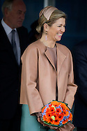 IJMUIDEN - Queen Maxima after the christening of the new lifeboat of the Royal Dutch Rescue Organisation. The NH1816 is a new type of lifeboat KNRM and is a gift of the Charity Foundation Nh1816 insurance. COPYRIGHT ROBIN UTRECHT