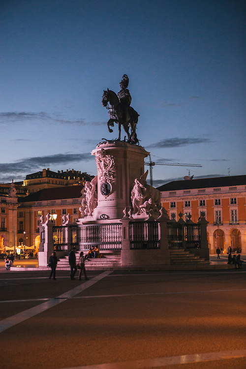 Praça do Comércio with statue of King José I and Rua Augusta Arch at night, Lisbon