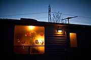 An Amazon workamper's RV is decorated with Christmas stickers at the Desert Rose RV Park in Fernley, Nevada, December 13, 2011. CREDIT: Max Whittaker/Prime for The Wall Street Journal.AMAZONTOWN