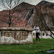 12 of April 2015 / Petrovski/ Donetsk Oblast/ Ukraine - Behind the entrance of the bunker, the coal mine who actually own the bunkers and allowed the family to squatted it for humanitarian reasons.