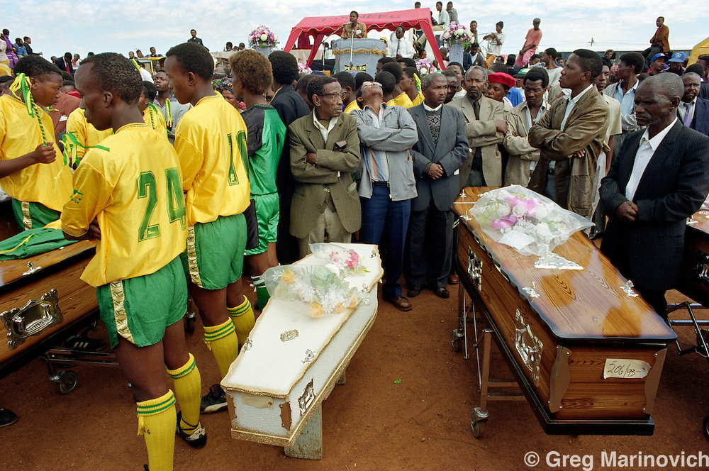 Mourners gather at the funeral of victims of the Boipatong Massacre June 1992. Boipatong, Transvaal, South Africa.