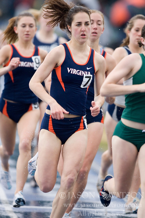 Virginia Cavaliers Jennifer Dolson (7) finished fifth in the women's 1500m race.  The University of Virginia Track and Field team hosted the 2007 Lou Onesty Invitational Track Meet at the University of Virginia in Charlottesville, VA on April 14, 2007.