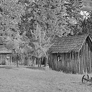 Wooden Shacks - Golden, Oregon - HDR - Infrared Black & White