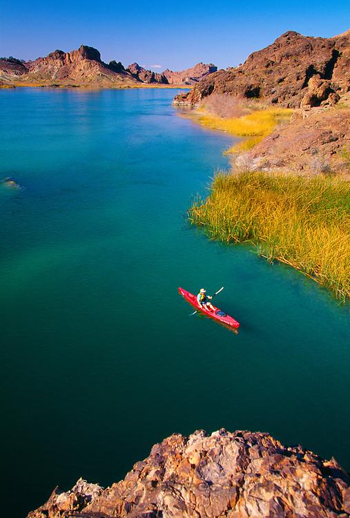 350166-1020 ~ Copyright: George H. H. Huey ~ Kayak in Topock Gorge, Colorado River. Arizona/California border Havasu National Wildlife Refuge, Arizona.