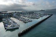 Pier 39 Marian, with Alcatraz and Marin Headlands in background, San Francisco, CA USA