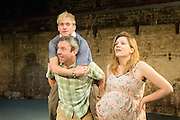 12/03/2012. London, UK. Southwark Playhouse presents the world premier of Philip Ridley's Shivered, directed by Russell Bolam. Picture shows Simon Lenagan as Mikey, Joseph Drake as Ryan and Olivia Poulet as Lyn. Photo credit : Tony Nandi