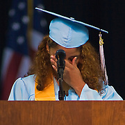 6/5/10 Newark, DE - Dickerson student speaker Yesenia Rosado wipes tears from her eyes as she thanks her mother for all of her hard work & Support. Special to Monsterphoto/SAQUAN STIMPSON