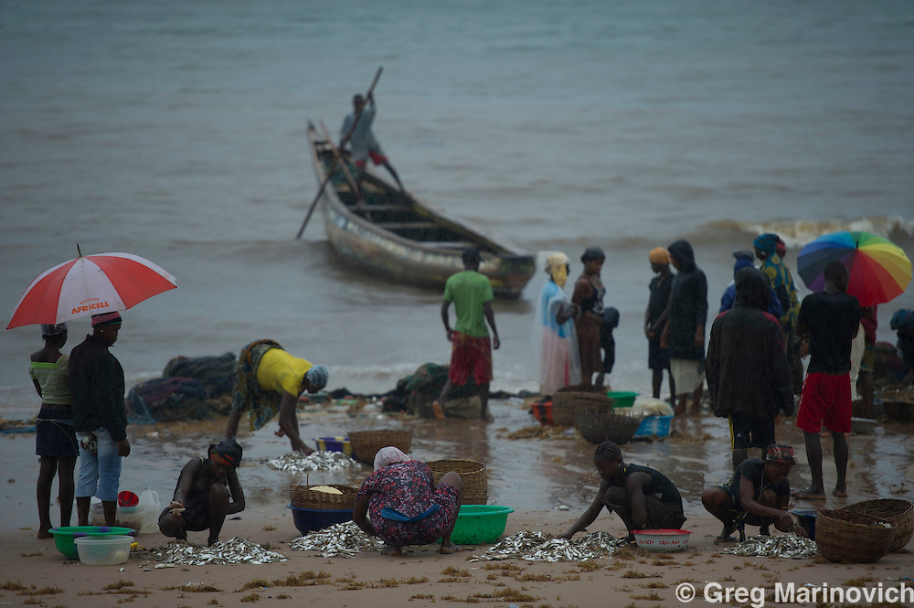 Freetown, Sierra Leone. July 11, 2012. The Atlantic Ocean at Freetown. The ferry boats carry passengers from the airport to the city.