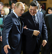 Russia's Prime Minister Vladimir Putin (L) and  European Commission President Jose Manuel Barroso (R) leave the room after  a family photo with the members of the European Commission and Russian Governemen  at European Union headquarters  in  Brussels, Belgium on 2011-02-24   by Wiktor Dabkowski
