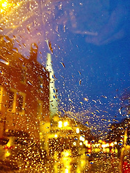 """Portsmouth New Hampshire's Market Square as seen through a rainy window. iPhone photo - suitable for print reproduction up to 8"""" x 12""""."""