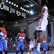 Grand Rapids Drive Center Hasheem Thabeet (34) dunks the ball in the second half of a NBA D-league regular season basketball game between the Delaware 87ers and the Grand Rapids Drive (Detroit Pistons) Saturday, Apr. 04, 2015 at The Bob Carpenter Sports Convocation Center in Newark, DEL.