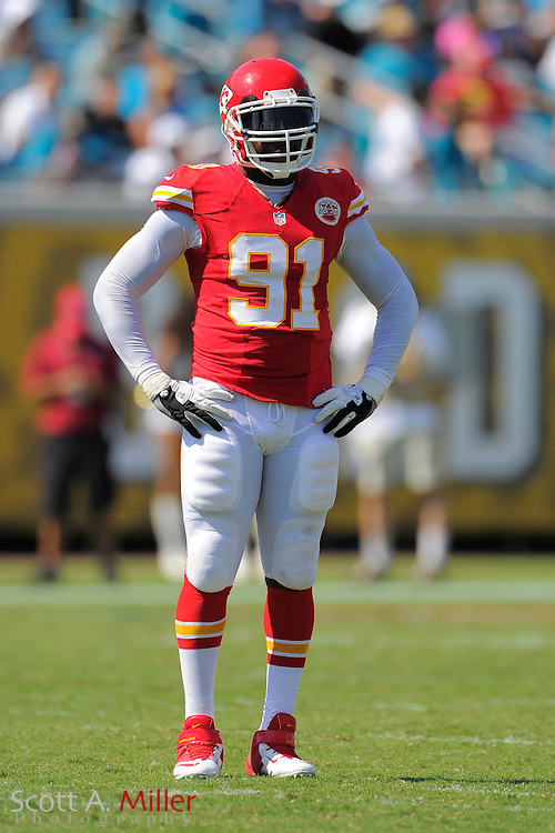 Kansas City Chiefs outside linebacker Tamba Hali (91) during the Chiefs 28-2 win over the Jacksonville Jaguars at EverBank Field on Sept. 8, 2013 in Jacksonville, Florida. The <br /> <br /> &copy;2013 Scott A. Miller
