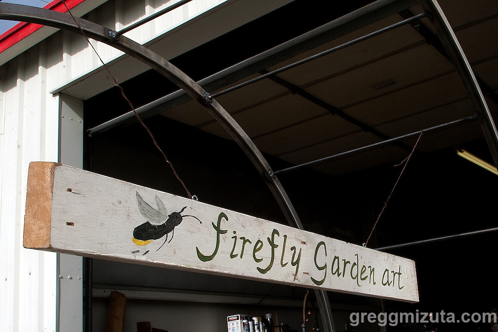 Metal artists Rick and Kath Sanders Firefly Garden Art studio in Garden City. This venue was a stop on Jodi Eichelberger's ST(r)EAM Bike/Art tour through the Surel Mitchell Live-Work-Create District in Garden City, Idaho on October 24, 2015. <br /> <br /> Artists and venues on the tour included landscape designer/artist Steven Gossett (Gossett Landscape and Design), jeweler Angela Sebolt (La De Da Jewelry), textile artist Arin Arthur (Arin Arthur Textiles), metal artists Rick and Kath Sanders (Firefly Garden Art), fine art photographer James Talbot, Cinder Winery and an &quot;outside looking in&quot; view of Matt Grover's River Waves kinetic installation.