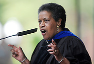 Myrlie Evers-Williams gives the commencement address at the University of Mississippi graduation in Oxford, Miss. on Saturday, May 11, 2013. (AP Photo/Oxford Eagle, Bruce Newman)