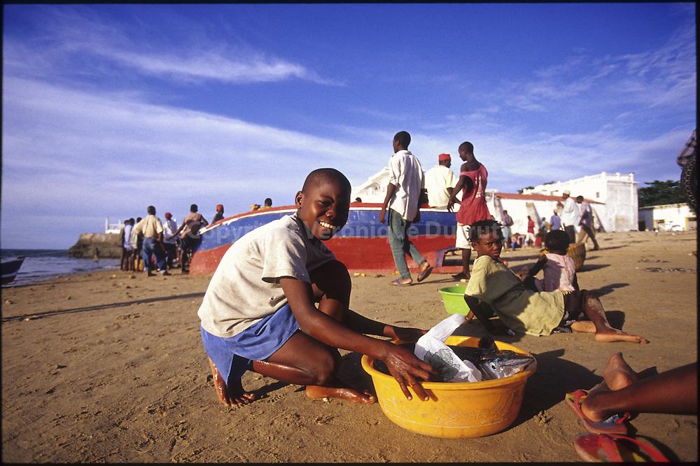 The fishing market is daily after coming back from fishing in Makuti Town, there where fishing boats are drawn alongside.  .Le marche aux poissons se tient chaque soir au retour de la peche a Makuti town, la meme ou accostent les bateaux de pecheurs