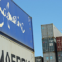 Ballerina dancing within the containers of Panama Ports.MR. Model relased photo.