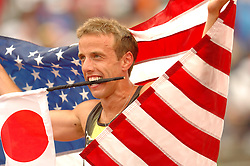 Alan Webb celebrates win in USATF 1500 meters,  Webb qualifies for World Championships in Japan.