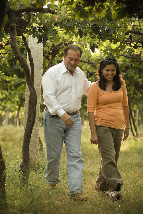 Michel Rolland and Karishma Grover at Grover Vineyards near Bangalore, India.