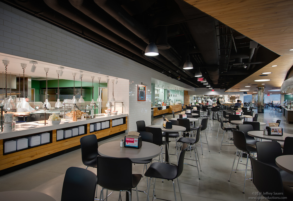 Architectural interior design and aerial photography for Dining hall interior