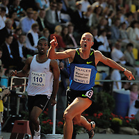 Marcel van der Westen wins the 110meter Hurdles during the  FBK games 2008 in Hengelo,