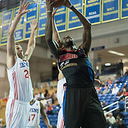 Springfield Armor Forward Willie Reed (33) pulls down a rebound in the course of a NBA D-league regular season basketball game between the Delaware 87ers (76ers) and the Springfield Armor (Nets) Saturday, Dec. 28, 2013 at The Bob Carpenter Sports Convocation Center, Newark, DE.