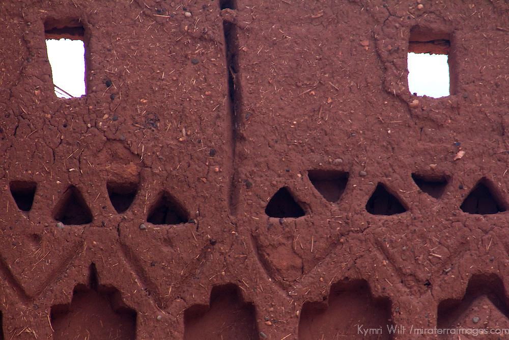 Africa, Morocco, Ourazazate. Ait Ben Haddou mud wall detail.